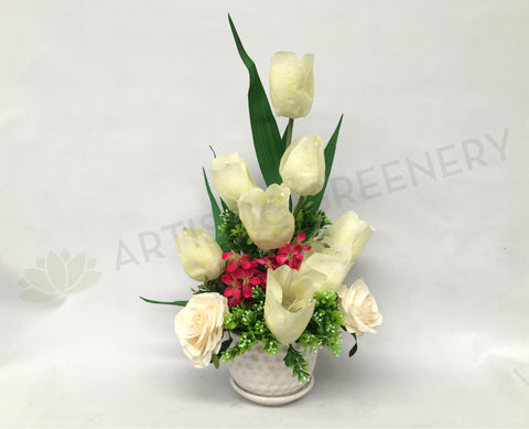 FA1024 - White Tulip Floral Arrangement