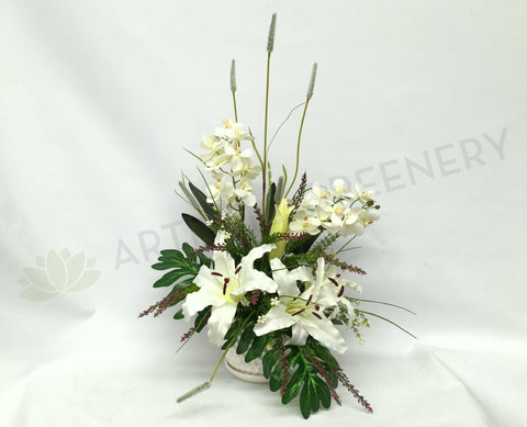 FA1026 - White Lilies and Orchids Floral Arrangement