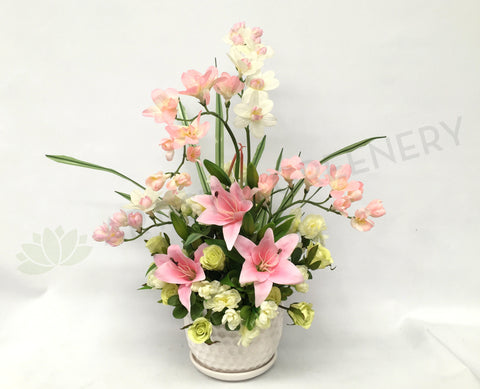 FA1027 - Pink and Light Green Floral Arrangement