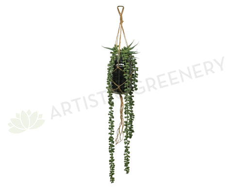 FA1062 - Macrame Hanging String of Pearls in Mason Jar (50cm Length)