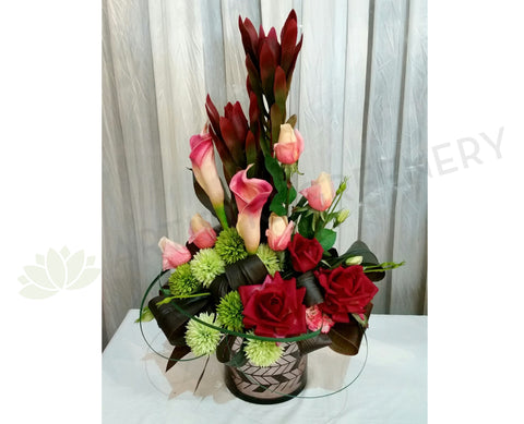 FA1065 - Rose & Native Arrangement (65cm Height) - Vanessa