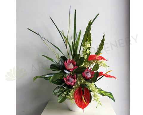 FA1072 - Protea Sugarbushes & Anthuriums Floral Arrangement 80cm Tall