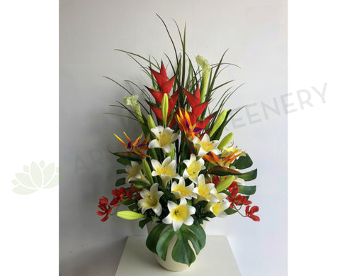 FA1074 - Lilies and Tropical Floral Arrangement 80cm Tall