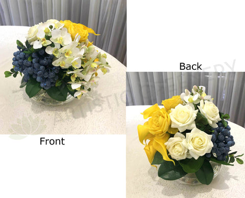 FA1080-2 - Yellow, White & Blue Round Arrangement 25cm Tall