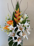 FA1100 - Faux Tropical Lily Floral Arrangement 120cm Tall (Gina) | ARTISTIC GREENERY