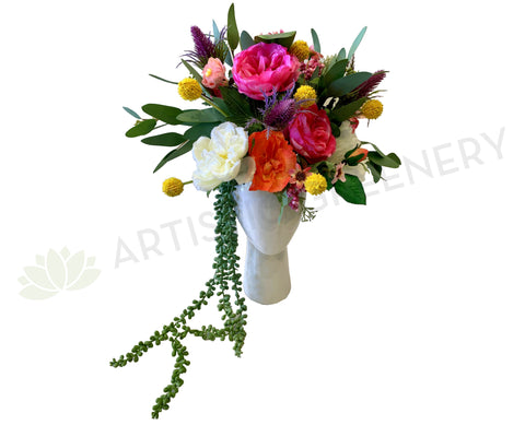 FA1102 - Colourful Flower Arrangement in Lady Head Vase (approx. 40cm Height)