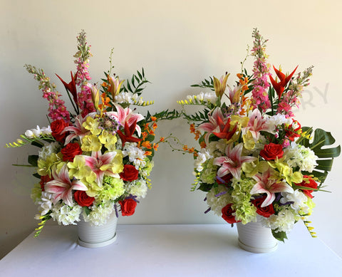FA1108 - Colourful Flower Arrangement (for church stage flowers)100cm tall | ARTISTIC GREENERY