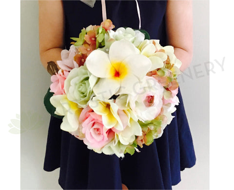 Round Bouquet - Frangipani & Roses - Flower Girl Bouquet