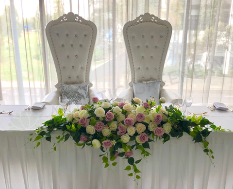 For Hire - Bridal Table Centrepiece (Dusty Pink & White) 180cm