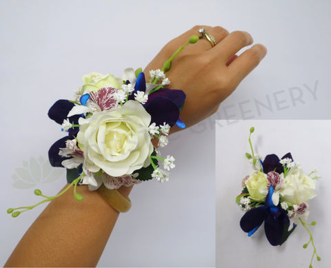 Corsage & Buttonhole - Blue Orchid & White Rose