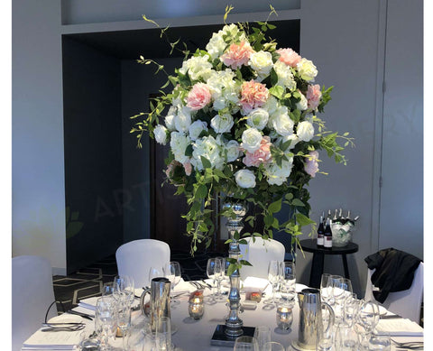 For Hire - Pink & White Grand Centrepiece in Silver Trumpet Vase 125cm