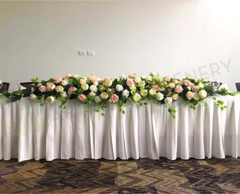 For Hire - White & Pink Bridal Table Centrepiece 200cm (Code: HI0008)