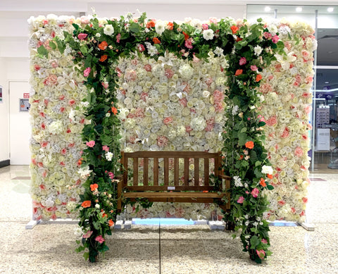 For Hire - Wooden Swing Chair with Colourful Silk Flowers (Code: HI0011)