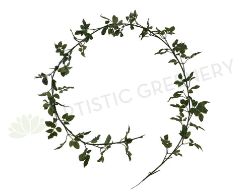 HP0063 Small Rose Leaves Garland 180cm Green