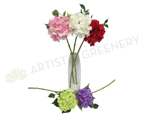 F0140 Hydrangea Single Stem  (Quality Silk) 60cm 6 Colours