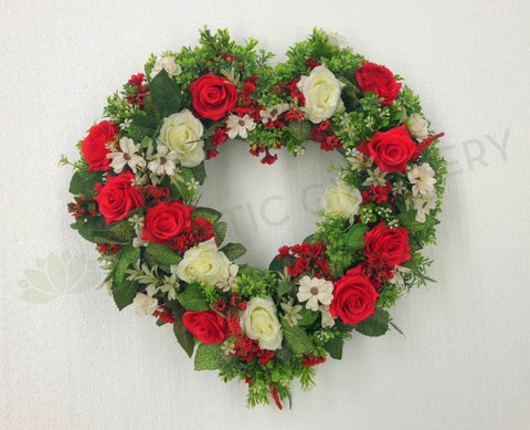 Heart Shaped Floral Wreath (Red & White) 40cm / 70cm