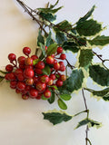 Christmas Holly Foliage 80cm (LEA0086) & Red Berries 33cm (F0165) Artificial Flowers Xmas Perth WA Australia | ARTISTIC GREENERY