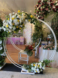 For Hire - Circular Frame / Backdrop with Silk Flower Swags (Code: HI0015)