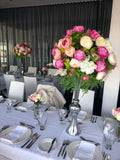 For Hire - Pink & White Wedding Centrepiece in Silver Trumpet Vase 90cm Height