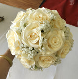 Bridesmaid bouquet silk roses with babys breath