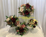 Round Bouquet -  Rustic Red Pink - Corina | ARTISTIC GREENERY