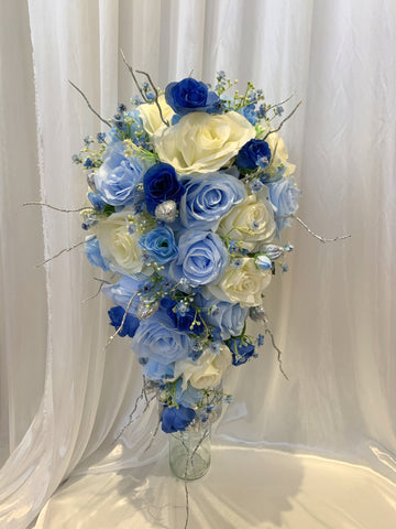 Teardrop Bouquet  - White & Blue - Michelle S | ARTISTIC GREENERY