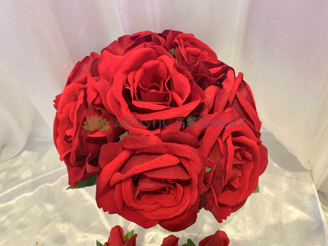 Red Silk Velvet Roses Wedding Bridal Bouquet - Vania F - Custom-made Cheap Online Wedding Flowers Perth Australia-wide