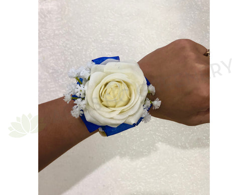 Corsage - Real Touch White Rose with Blue Organza Ribbons - Juanita