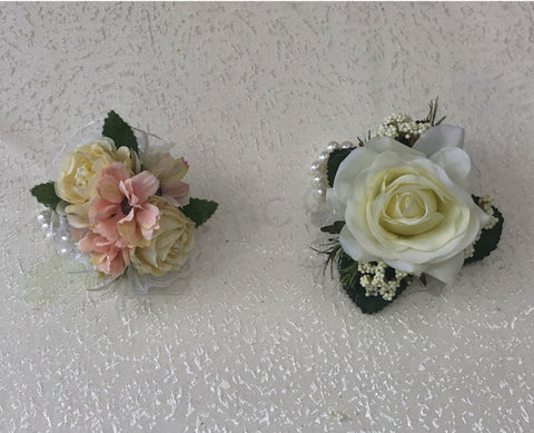 Corsage - White Rose with Wild Sago & Pink Small Flowers - Katie