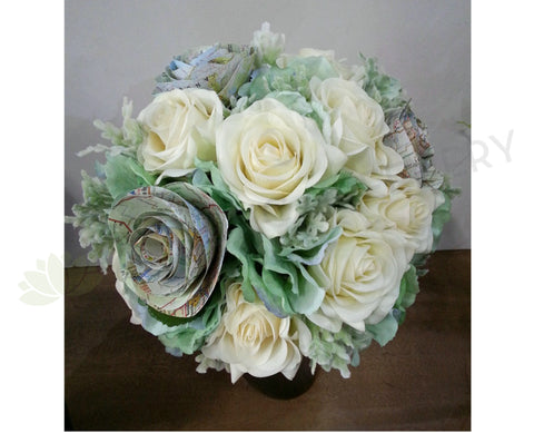 Round Bouquet - Paper Flowers Green & White - Krystie E