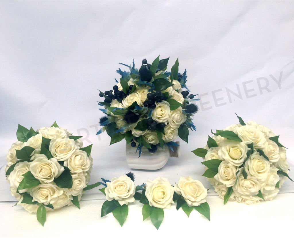 Scottish Thistle Silk Bouquet And White Rose Bouquet Artificial