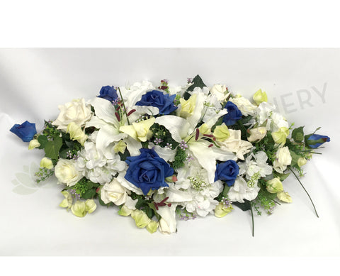 For Hire - Bridal Table Centrepiece (Blue & White) 100cm