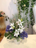 FA1092 - Purple & White Reception Floral Arrangement 70cm Tall | ARTISTIC GREENERY