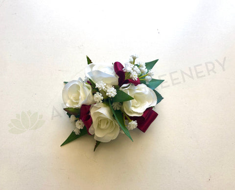 Corsage - White Roses & Baby's Breath with Burgundy Ribbons - Madison B