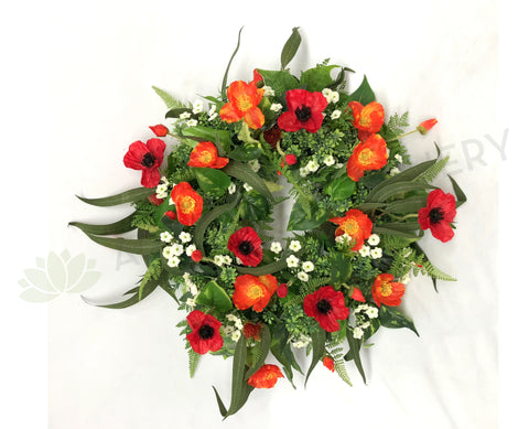 Poppy Floral Wreath 30cm / 40cm / 50cm