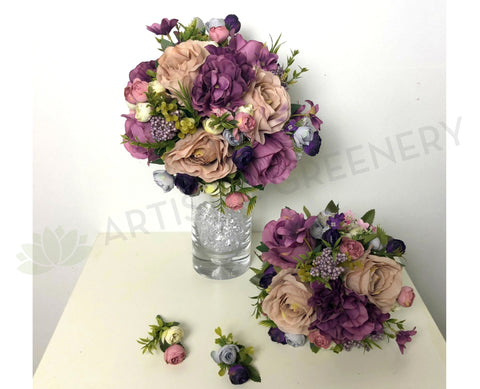 Round Bouquet - Purple & Dusty Pink - Melissa H