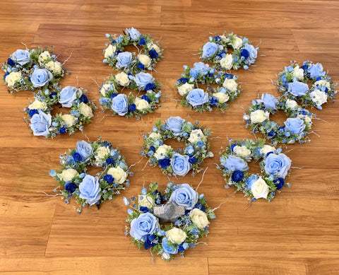 Wedding Guest Table Centrepieces - Light Blue & White - Michelle S | ARTISTIC GREENERY