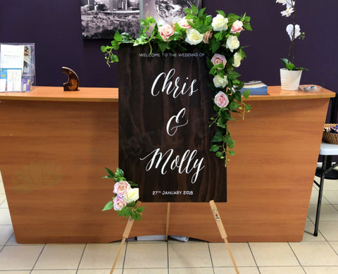 Custom-made Hire Items - Wedding Easel & Church Decor (Molly & Chris)
