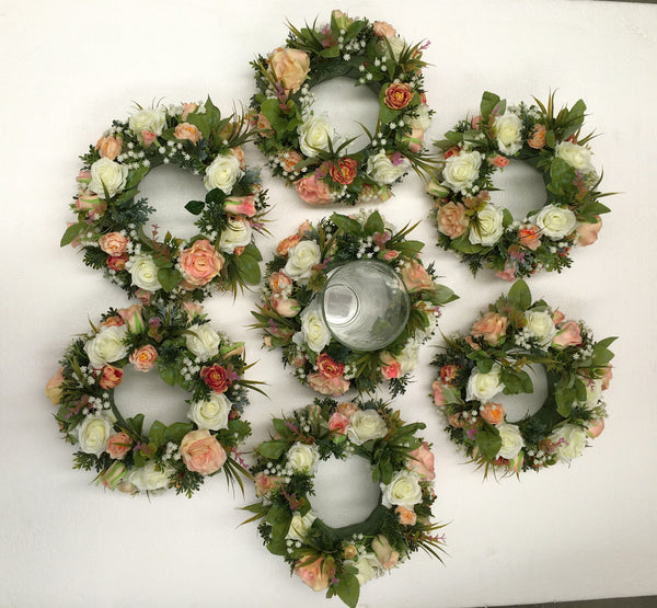Peach Colour Silk Floral Wreath Flower Wreath Perth