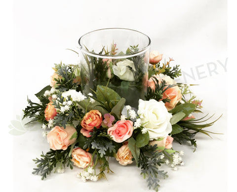 Peach Colour Theme Floral Wreath 30cm / 40cm / 50cm