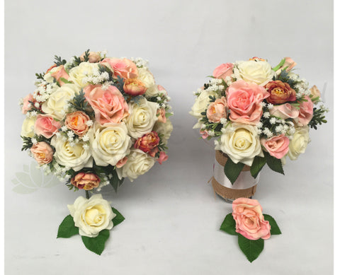 Round Bouquet - Peach & White - Natalie L