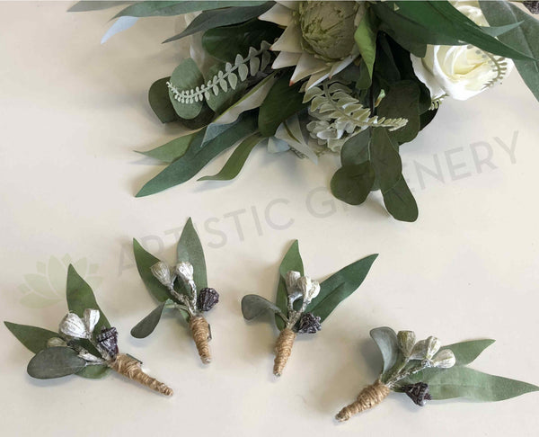 Buttonhole Australian Native Greenery Silk Flowers