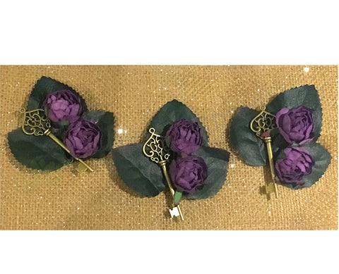 Buttonhole - Rustic Key and Paper Flowers - Nikita