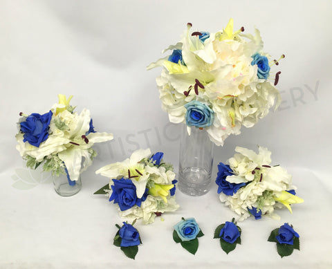 Round Bouquet - Blue & White - Peta H