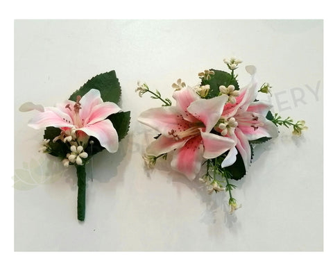 Pink lily silk corsage silk boutonniere cheap buttonhole for school corsage buttonhole pink lily mel s mightylinksfo