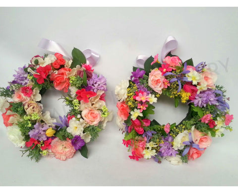 Purple & Pink Colour Floral Wreath 30cm / 40cm / 50cm