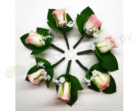 Buttonhole - Pink Rose with Gypso