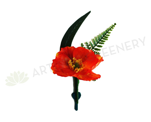 Buttonhole - Poppy with Greenery - Red / Orange / White