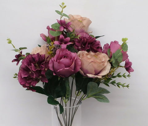 SP0242 Rose & Hydrangea Bunch with Greenery (2 styles) 52cm