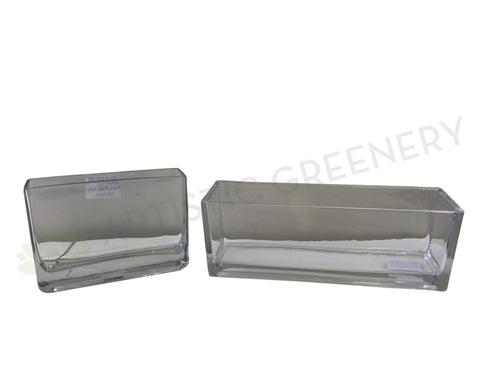 Glass Rectangle Planter / Pot (code: RECTGLA) 2 Sizes  - Clear Glass